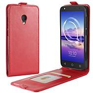 お買い得  携帯電話ケース-ケース 用途 Alcatel アルカテルU5 4G A7 カードホルダー フリップ フルボディーケース 純色 ハード PUレザー のために alcatel U5 HD Alcatel U5 4G alcatel U5 3G alcatel A7