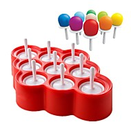お買い得  キッチン用小物-シリコンアイスロリーポップスアイスクリームメーカーのポップコーンボール9つのスティック