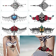 cheap Temporary Tattoos-Tattoo Sticker Temporary Tattoos Flower Series Black Body Arts Body