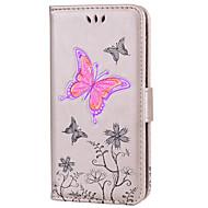 Кейс для Назначение Apple iPhone 8 iPhone 8 Plus Бумажник для карт Флип Рельефный С узором Чехол Бабочка Сияние и блеск Твердый