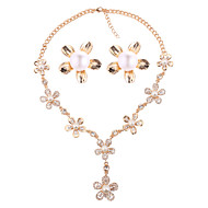 abordables Joyería floral-Mujer Conjunto de joyas - Perla Artificial Floral / Botánico, Flor Europeo, Moda Incluir Dorado Para Boda Fiesta / Pendientes