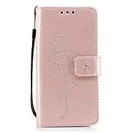お買い得  携帯電話ケース-ケース 用途 Wiko カードホルダー ウォレット スタンド付き フリップ エンボス加工 フラミンゴ ハード のために