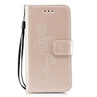 Недорогие Кейсы для iPhone 8-Кейс для Назначение Apple iPhone X iPhone 8 Бумажник для карт Кошелек со стендом Флип Рельефный Фламинго Твердый для