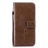 Недорогие Чехлы и кейсы для Galaxy S7-Кейс для Назначение SSamsung Galaxy S8 Plus S8 Бумажник для карт Кошелек со стендом Флип Рельефный Фламинго Твердый для