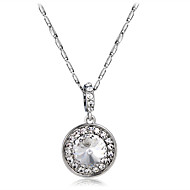 Women's Circle Fashion Elegant Pendant Necklace Crystal Cubic Zirconia Crystal Zircon Silver Plated Pendant Necklace , Party Formal