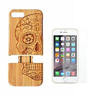 Недорогие Кейсы для iPhone 8 Plus-Кейс для Назначение Apple iPhone 8 Plus iPhone 7 Plus Защита от удара Кейс на заднюю панель Имитация дерева Твердый Бамбук для iPhone 8