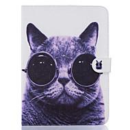 Недорогие Чехлы и кейсы для Galaxy Tab 4 7.0-Кейс для Назначение SSamsung Galaxy Бумажник для карт Кошелек со стендом С узором Авто Режим сна / Пробуждение Чехол Кот Твердый Кожа PU