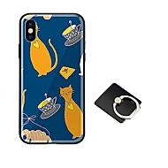 Недорогие Кейсы для iPhone 8 Plus-Кейс для Назначение Apple iPhone X iPhone 8 со стендом Ультратонкий С узором Кейс на заднюю панель Кот Твердый Закаленное стекло для