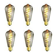 abordables Bombillas Incandescentes-6pcs 40W E26/E27 ST64 Blanco Cálido 2200-2700 K Retro Regulable Decorativa Bombilla incandescente Vintage Edison 220-240V V