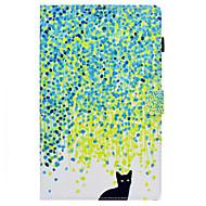 Недорогие Чехлы и кейсы для Galaxy Tab E 9.6-Кейс для Назначение SSamsung Galaxy Tab E 9.6 Бумажник для карт / со стендом / Флип Чехол Кот Твердый Кожа PU для Tab E 9.6