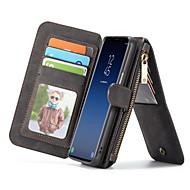 Недорогие Чехлы и кейсы для Galaxy S9-Кейс для Назначение SSamsung Galaxy S9 Бумажник для карт Кошелек со стендом Флип Чехол Сплошной цвет Твердый Настоящая кожа для S9