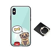 Недорогие Кейсы для iPhone 8-Кейс для Назначение Apple iPhone X iPhone 8 со стендом Ультратонкий С узором Кейс на заднюю панель С собакой Твердый Закаленное стекло для