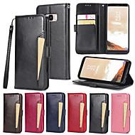 Недорогие Чехлы и кейсы для Galaxy S8-Кейс для Назначение SSamsung Galaxy S8 / S7 Кошелек / Бумажник для карт / со стендом Чехол Однотонный Твердый Кожа PU для S8 Plus / S8 / S7 edge