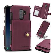 Недорогие Чехлы и кейсы для Galaxy S9-Кейс для Назначение SSamsung Galaxy S9 S9 Plus Бумажник для карт Защита от удара Кейс на заднюю панель Сплошной цвет Твердый Кожа PU для