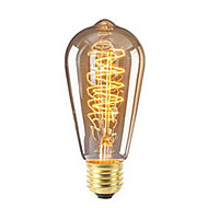 abordables Bombillas Incandescentes-1pc 40w e27 st64 retro regulable / decorativo blanco cálido incandescente vintage edison bombilla ac220-240v