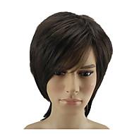 Недорогие Парики-Искусственные волосы парики Прямой Природные волосы Стрижка каскад Без шапочки-основы Парик из натуральных волос Короткие Коричневый