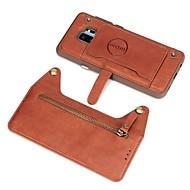 Недорогие Чехлы и кейсы для Galaxy S8 Plus-Кейс для Назначение SSamsung Galaxy S9 Plus / S8 Plus Кошелек / Бумажник для карт / Флип Кейс на заднюю панель Однотонный Твердый Настоящая кожа для S9 / S9 Plus / S8 Plus