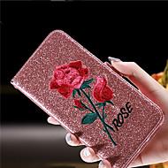 Недорогие Кейсы для iPhone 8-Кейс для Назначение Apple iPhone 8 iPhone 8 Plus Бумажник для карт Кошелек Защита от удара со стендом Флип Чехол Цветы Сияние и блеск