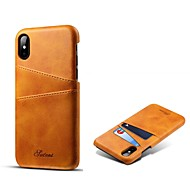 Недорогие Кейсы для iPhone 8 Plus-Кейс для Назначение Apple iPhone X iPhone 8 Plus Бумажник для карт Кейс на заднюю панель Однотонный Твердый Настоящая кожа для iPhone X