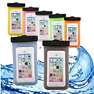 Недорогие Кейсы для iPhone 8-Кейс для Назначение Apple iPhone 6 iPhone 7 Кошелек Защита от влаги Водонепроницаемый Прозрачный Мешочек Однотонный Мягкий ABS + PC для