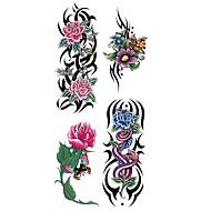 abordables Tatuajes Temporales-Waterproof / Pegatina tatuaje Cuerpo / brazo / hombro Los tatuajes temporales 1 pcs Series de Flor Artes de cuerpo