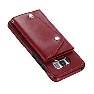 Недорогие Чехлы и кейсы для Galaxy S8 Plus-Кейс для Назначение SSamsung Galaxy S9 Plus S8 Plus Бумажник для карт Кошелек со стендом Флип Магнитный Кейс на заднюю панель Однотонный