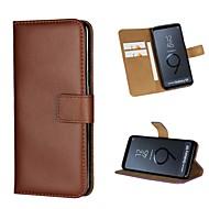 Недорогие Чехлы и кейсы для Galaxy S7 Edge-Кейс для Назначение SSamsung Galaxy S9 Plus / S9 Кошелек / Бумажник для карт / со стендом Чехол Однотонный Твердый Настоящая кожа для S9 / S9 Plus / S8 Plus
