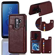 Недорогие Чехлы и кейсы для Galaxy S9 Plus-Кейс для Назначение SSamsung Galaxy S9 S9 Plus Бумажник для карт со стендом Кейс на заднюю панель Однотонный Твердый Кожа PU для S9 Plus