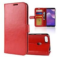 preiswerte Handyhüllen-Hülle Für Huawei Y9 (2018)(Enjoy 8 Plus) Y7 Prime (2018) Kreditkartenfächer Geldbeutel Flipbare Hülle Magnetisch Ganzkörper-Gehäuse Solide