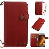 Недорогие Чехлы и кейсы для Galaxy A3(2016)-Кейс для Назначение SSamsung Galaxy A5(2017) A3(2017) Бумажник для карт Кошелек Флип Чехол Однотонный Мягкий Кожа PU для A3 (2017) A5