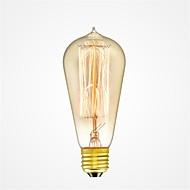 abordables Bombillas Incandescentes-1pc 40W E26/E27 ST58 Blanco Cálido 2200-2700k K Retro Regulable Decorativa Bombilla incandescente Vintage Edison 220-240V