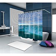 お買い得  浴室用小物-シャワーカーテン&フック カジュアル 地中海風 ポリエステル ソリッド ノベルティ柄 機械製 防水