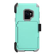 Недорогие Чехлы и кейсы для Galaxy S-Кейс для Назначение SSamsung Galaxy S9 S9 Plus Бумажник для карт Защита от удара Поворот на 360° броня Чехол Однотонный броня Твердый ПК