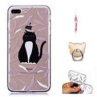 Недорогие Кейсы для iPhone 8-Кейс для Назначение Apple iPhone X / iPhone 8 Прозрачный / С узором Кейс на заднюю панель Кот Мягкий ТПУ для iPhone X / iPhone 8 Pluss /