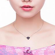 baratos -Mulheres Colares com Pendentes - S925 Sterling Silver Coração Simples, Coreano, Fashion Preto, Vermelho 45 cm Colar Para Presente,