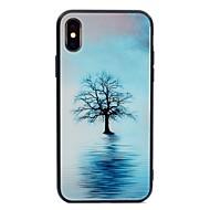 Недорогие Кейсы для iPhone 8-Кейс для Назначение Apple iPhone X / iPhone 8 С узором Кейс на заднюю панель дерево Твердый Закаленное стекло для iPhone X / iPhone 8