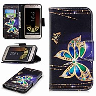 cheap Galaxy J Series Cases / Covers-Case For Samsung Galaxy J7 (2017) / J2 PRO 2018 Card Holder / Wallet / with Stand Full Body Cases Butterfly Hard PU Leather for J7 (2017)