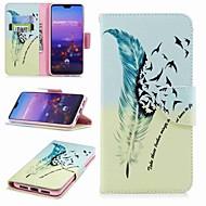 お買い得  携帯電話ケース-ケース 用途 Huawei P20 lite P20 Pro カードホルダー ウォレット スタンド付き フリップ パターン フルボディーケース 羽毛 ハード PUレザー のために Huawei P20 lite Huawei P20 Pro Huawei P20 P10