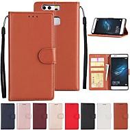 olcso Mobiltelefon tokok-Case Kompatibilitás Huawei P10 P9 Kártyatartó Állvánnyal Héjtok Egyszínű Kemény PU bőr mert P10 Lite P10 Huawei P9 Plus Huawei P9 Lite