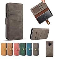 Недорогие Чехлы и кейсы для Galaxy S8-Кейс для Назначение SSamsung Galaxy S9 S9 Plus Бумажник для карт Кошелек Флип Чехол Однотонный Твердый Кожа PU для S9 Plus S9 S8 Plus S8