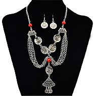 cheap -Women's Synthetic Tanzanite Jewelry Set 1 Necklace / Earrings - Vintage / Fashion / Statement Circle Black / Red / Green Jewelry Set For