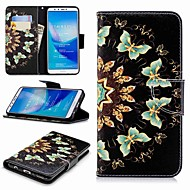 preiswerte Handyhüllen-Hülle Für Huawei Y9 (2018)(Enjoy 8 Plus) Geldbeutel / Kreditkartenfächer / mit Halterung Ganzkörper-Gehäuse Schmetterling Hart PU-Leder für Huawei Y7(Nova Lite+) / Huawei Y6 (2018) / Huawei Y6
