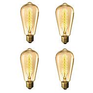abordables Bombillas Incandescentes-4pcs 40 W E26 / E27 ST64 Blanco Cálido 2300 k Retro / Regulable / Árbol Bombilla incandescente Vintage Edison 220-240 V