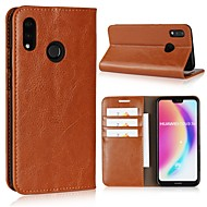 お買い得  携帯電話ケース-ケース 用途 Huawei P20 Pro / P20 lite ウォレット / カードホルダー / フリップ フルボディーケース ソリッド ハード 本革 のために Huawei P20 / Huawei P20 Pro / Huawei P20 lite