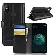 お買い得  携帯電話ケース-ケース 用途 Xiaomi Mi 6X ウォレット / カードホルダー / スタンド付き フルボディーケース ソリッド ハード 本革 のために Xiaomi Mi 6X(Mi A2)