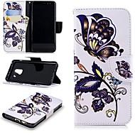 Недорогие Чехлы и кейсы для Galaxy А-Кейс для Назначение SSamsung Galaxy A8 2018 Кошелек / Бумажник для карт / со стендом Чехол Бабочка Твердый Кожа PU для A8 2018