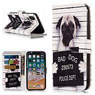 Недорогие Кейсы для iPhone 8 Plus-Кейс для Назначение Apple iPhone X / iPhone 8 Plus Кошелек / Бумажник для карт / со стендом Чехол С собакой / Слова / выражения Твердый Кожа PU для iPhone X / iPhone 8 Pluss / iPhone 8