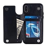 Недорогие Кейсы для iPhone 8 Plus-Кейс для Назначение Apple iPhone X / iPhone 8 Кошелек / Бумажник для карт / со стендом Кейс на заднюю панель Однотонный Твердый Кожа PU