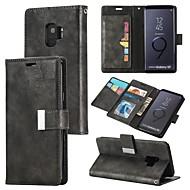 Недорогие Чехлы и кейсы для Galaxy S7-Кейс для Назначение SSamsung Galaxy S9 Plus / S9 Кошелек / Бумажник для карт / Флип Чехол Однотонный Твердый Кожа PU для S9 / S9 Plus / S8 Plus
