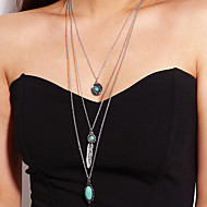 preiswerte -Damen Mehrschichtig Layered Ketten  -  Feder Retro, Modisch Silber 50 cm Modische Halsketten 1pc Für Normal